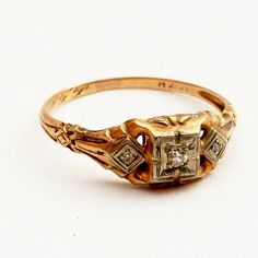 Vintage Estate Diamond Engagement Ring 10K yellow gold by Spoonier, $260.00