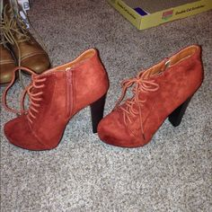 New Charlotte Russe Heeled Ankle Boot BRAND NEW Charlotte Russe Heeled Lace-Up Ankle Boots Burnt Orange w/ inside zipper - size 8 . No box. Charlotte Russe Shoes Ankle Boots & Booties