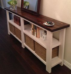 Rustic Farmhouse Console Sofa Table Entertainment by FatherofWood