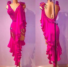 Fuchsia pink long diagonal ruffle cutaway wrap Latin dress