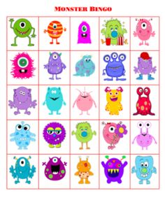 Get a free printable for monster bingo. Great for family activities!