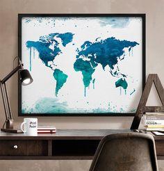 World map Art Print Watercolor World map poster door iPrintPoster World Map Travel, World Map Poster, World Map Wall Art, Watercolor World Map, World Map Painting, Art Watercolour, Watercolor Ideas, Kunst Online, Art En Ligne