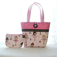Cute Ballerina Fabric Little Girls Purse Coin Purse Set Mini Tote Bag Childs Purse with Wallet Kids Bag Ballet Dancers Pink Glitter Tutu MTO Patchwork Bags, Quilted Bag, Drawstring Bag Diy, Sac Lunch, Denim Tote Bags, Fabric Purses, Handmade Purses, Craft Bags, Girls Bags