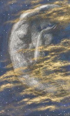 Edward Robert Hughes (1851 - 1914) The Weary Moon Edward Robert Hughes, A4 Poster, Poster Prints, Posters, Edward Burne Jones, She Walks In Beauty, Renaissance Paintings, Art Thou, Pre Raphaelite