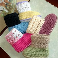 Cuffed Baby Booties, Cute and easy to crochet. Cuffed boots baby booties. Double soles. Instructions include optional detailing and textures. Ribbons or ties can be threaded through these baby shoes, but they are not necessary. , Can be worn with cuff up or down.