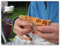 Campfire pizza pockets – these are excellent. I put normal pizza toppings in mine – sausage, pepp, Mushrooms, cheese and sauce.
