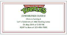 Teenage Mutant Ninja Turtle Party Ideas with Printable Invitations