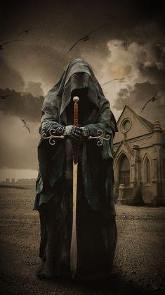 Grim Reaper Art, Grim Reaper Tattoo, Angel Artwork, Skull Artwork, Gothic Fantasy Art, Medieval Fantasy, Evvi Art, Knight Tattoo, Fantasy Creatures