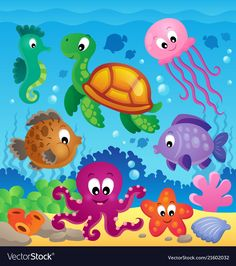 Image with undersea theme 7 - vector illustration. Murals For Kids, Art For Kids, Meer Illustration, Under The Sea Clipart, Cartoon Sea Animals, Adobe Illustrator, School Murals, Under The Sea Theme, Summer Crafts