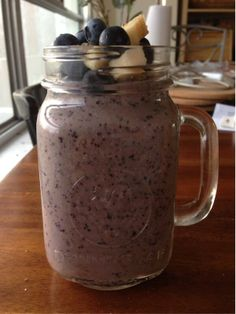 Blueberry banana almond milk shake with hemp seeds cause I don't want to leave for work :(