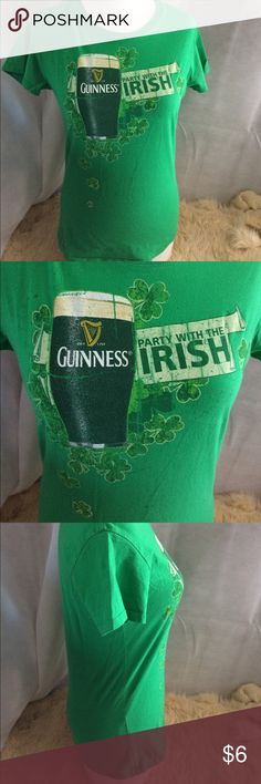 Guinness T-shirt This is a Guinness green T-shirt perfect for St. Patrick's Day packed it says Irish party on shoulders are 14 total weight length is 24 just 16 waist 16 Guinness Tops Tees - Short Sleeve
