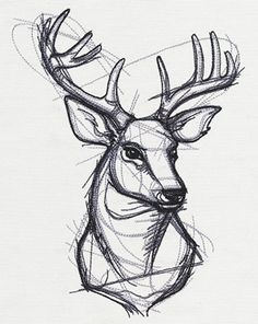 Let this handsome, sketched-style stag design come to life on pillows, T-shirts, and more!