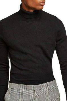Topman Classic Fit Turtleneck Sweater Turtleneck Suit, Black Turtleneck Outfit, Turtle Neck Men, Stylish Mens Outfits, Casual Outfits, Trench Coat Men, Mens Clothing Styles, Sweater, Men Fashion