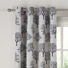 Buy Black John Lewis Oakley Trees Eyelet Lined Curtains, x Drop from our Ready Made Curtains & Voiles range at John Lewis. Decor, Living Room Color Schemes, Lined Curtains, Hall House, Printed Shower Curtain, New Homes, Curtains, Bedroom Decor, Transform Spaces