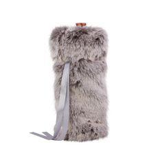 07140c76cbae Gray Faux Fur Wine Gift Bag - Wondershop™