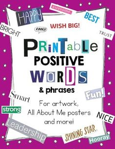 This product contains 9 pages of positive words, inspirational phrases and just regular phrases..... perfect for All About Me projects and Positive Self-Identity activities.  OVER 400 WORDS!These cut out magazine words can be used in so many ways, including art, poetry, literacy, collage and crafts.
