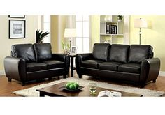 1PerfectChoice Hatton Living Room Furniture Sofa Loveseat Chair Plush Cushion Black Leatherette * You can find out more details at the link of the image.