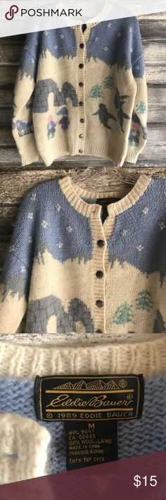 """Eddie Bauer Cardigan size M Fun snow scenes of a great Eddie Bauer 100% Wool cardigan. Pre-loved and in good shape. Please note the top button is missing (who the heck uses that top button anyway!?) Size M. Shoulder to hem: 26"""", outer sleeve: 21"""", pit to pit: 23"""".  Shop smart by maximizing your shipping $. Use the filter function and peruse my closet of over 1,000 items! Bundle and save!!  Shop smart by maximizing your shipping $. Use the filter function and peruse my closet of over 1,000…"""