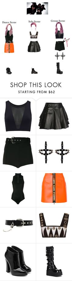 """DoYeon-DLXX-Girl Gang M/V"" by officialdlxx ❤ liked on Polyvore featuring Varley, Mairi Mcdonald, Versus, Off-White, Heron Preston, D&G, FAUSTO PUGLISI, Giuseppe Zanotti, Demonia and Dr. Martens"
