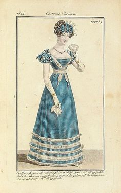 COSTUME PARISIEN - Coeffure formée de velours . . ., published in Paris, 1824.