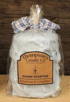 "Thompson's Candle Co Super Scented MED(18 oz)Pillar 80 Hrs ""Sunshine & Laughter"" #ThompsonsCandleCo"