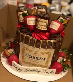 Hennessy inspired/infused cake with chocolate covered Hennessy inspired/infused strawberries. Hennessy inspired/infused cake with chocolate covered Hennessy inspired/infused strawberries. Alcohol Birthday Cake, 25th Birthday Cakes, Alcohol Cake, Birthday Cake For Him, Bithday Cake, Adult Birthday Cakes, Birthday Beer, Birthday Ideas, Henessy Cake