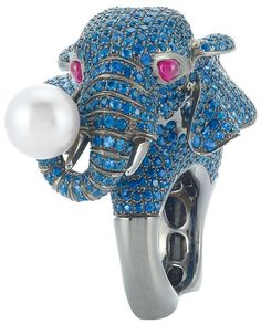 Blackened Gold, Sapphire, Ruby and Cultured Pearl Elephant Ring  18 kt., sapphires ap. 15.00 cts., one pearl ap. 10.5 mm., ap. 22.6 dwt. Size 6 3/4. Via Doyle New York.