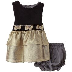 Newborn Girls' Bow Dress - Black/Gold (39 BRL) ❤ liked on Polyvore featuring baby