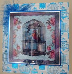 Chaffinches in a vintage cage on Craftsuprint designed by Bodil Lundahl - made by chell sharpe - I printed out the sheet onto 200gsm CUP photo paper. I matted the base image onto silver mirror card and then onto blue holo card. I added a blue feather and mounted it with foam tape onto the 8x8 base card, the backing paper is from a Kanban pad. I decoupaged the 5 layers with foam pads
