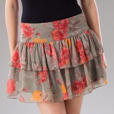Tiered Ruffle Floral Skirt