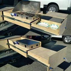 - Bus - Top Camper Kitchen Ideas You Must Like This 07 Van Fit Truck Bed Camping 22 Adam's 2005 Suv Camping, Camping Stores, Camping Chairs, Vw Transporter Conversions, Astuces Camping-car, Kangoo Camper, Truck Bed Storage, Truck Bed Drawers, Kombi Home