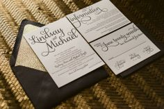ADELE Suite Glitter Package, black and gold wedding invitations, black and gold glitter, glitter wedding invitations, script wedding invitations, gold mirror paper, http://justinviteme.com/collections/styled-collections/products/adele-suite-glitter-package