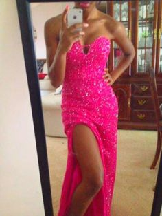 hot pink dress w/bling
