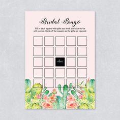 Bridal shower Catcus watercolor succulent hen party game