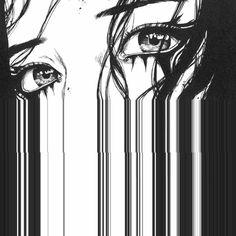 Buy 'Anime Glitch Eye Art' by blzabub as a Sticker, Transparent Sticker, Glossy Sticker, or Greeting Card Realistic Eye Drawing, Drawing Eyes, Eye Drawings, Glitch Art, Aesthetic Art, Aesthetic Anime, Aesthetic Black, Fantasy Boy, Manga Art