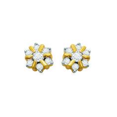 ff9a939dd 0.38 CT Round Cut Diamond Stud Earrings 14K Yellow Gold Over 925 Sterling  Silver #Vijisan