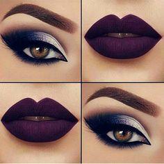 Make fabulosa. Olhos sombreados. Batom uva