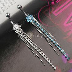 2 x Steel Crystal Flower Dangle Navel Belly Ring Bar Piercing Jewelry - Smiley Piercing, Daith Piercing, Ear Piercings, Diy Jewelry, Fashion Jewelry, Wholesale Body Jewelry, Crystal Flower, Belly Rings, Dangles