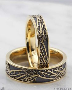 This set of matching His and Hers Tree of Life Wedding Bands were handcrafted in yellow gold with a darkened recess for added contrast. bands Yellow Gold Tree of Life Wedding Band Set Wedding Rings Sets His And Hers, Matching Wedding Bands, Wedding Band Sets, Wedding Men, Wedding Bands Couples, Mens Gold Wedding Bands, Unique Wedding Bands For Him, His And Hers Rings, Matching Rings