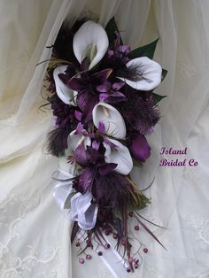 Silk Wedding Bouquet Set White Calla Lilly, Purple. $255.00, via Etsy.