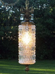 Vintage Clear Glass HeavyDuty Cylinder Hanging Swag Lamp Pull Chain Light Prisms