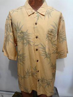 Tommy Bahama Light Orange Green Foliage Hawaiian Short Sleeve Silk Shirt XL  #TommyBahama #Hawaiian