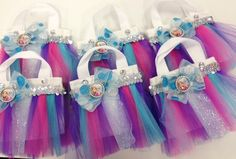 Frozen themed mini tutu bag party favors