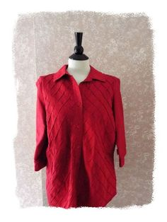Coldwater Creek #plussize 1X silk blouse top collar 3/4 sleeve #holiday #Christmas red  #ColdwaterCreek  #Casual