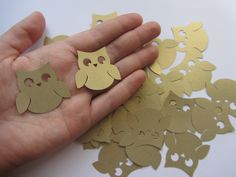 Gold Wedding Owl Die Cuts - Wedding Table Confetti - Baby Shower Animal Decoration - Paper Owls - Gold baby shower by MurisAndAJ on Etsy https://www.etsy.com/listing/204306181/gold-wedding-owl-die-cuts-wedding-table