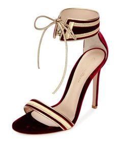X39TA Gianvito Rossi Augusta Velvet Ankle-Wrap Sandal, Granato/Glam