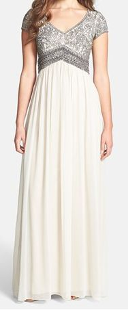 Adrianna Papell Embellished Cap Sleeve Gown. Really want this for a prom dress. It is modest but beautiful! <3
