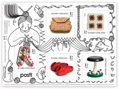 New stamp series by designers Aamu Song and Johan Olin celebrates the traditional handicrafts of Finland. Yoshitomo Nara, S Diary, First Day Covers, Love Stamps, Japan Post, Its A Wonderful Life, Couture, Postage Stamps, Peace And Love