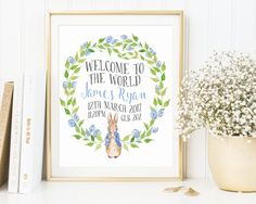 Customized Peter Rabbit Birth Announcement, Welcome To The World, Custom Order, Nursery Decor, Wall Art, New Baby Gift, Birth Stats, Details by AdornMyWall on Etsy