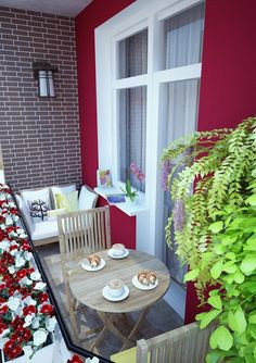 50 ideas on how to make the small terrace small terrace shape deco-design balcony furniture for small balcony - balkon - House Balcony Design, House With Balcony, Small Balcony Design, Small Balcony Decor, Small Terrace, Small Space Interior Design, Small House Design, Balcony Door, Terrace Design